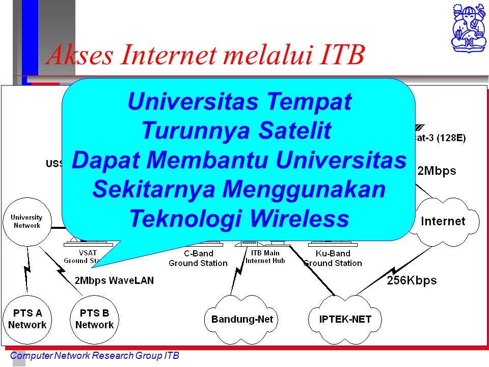 Computer Network Research Group ITB Akses Internet melalui ITB Universitas Tempat Turunnya Satelit Dapat Membantu Universitas Sekitarnya Menggunakan Teknologi Wireless