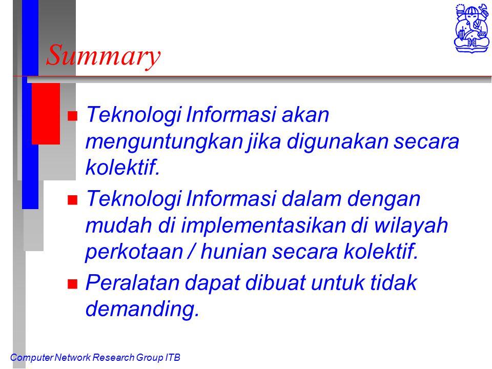 Computer Network Research Group ITB Summary n Teknologi Informasi akan menguntungkan jika digunakan secara kolektif.
