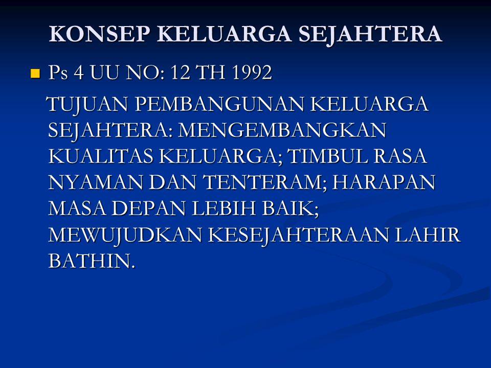 KONSEP KELUARGA SEJAHTERA Ps 4 UU NO: 12 TH 1992 Ps 4 UU NO: 12 TH 1992 TUJUAN PEMBANGUNAN KELUARGA SEJAHTERA: MENGEMBANGKAN KUALITAS KELUARGA; TIMBUL