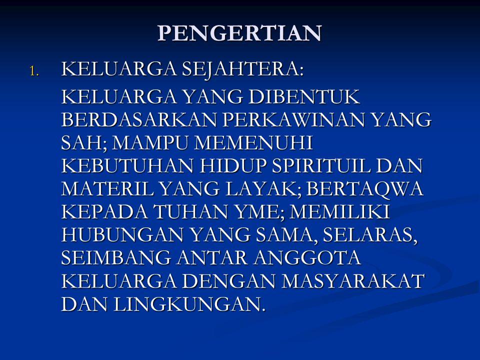 PENGERTIAN 1. KELUARGA SEJAHTERA: KELUARGA YANG DIBENTUK BERDASARKAN PERKAWINAN YANG SAH; MAMPU MEMENUHI KEBUTUHAN HIDUP SPIRITUIL DAN MATERIL YANG LA