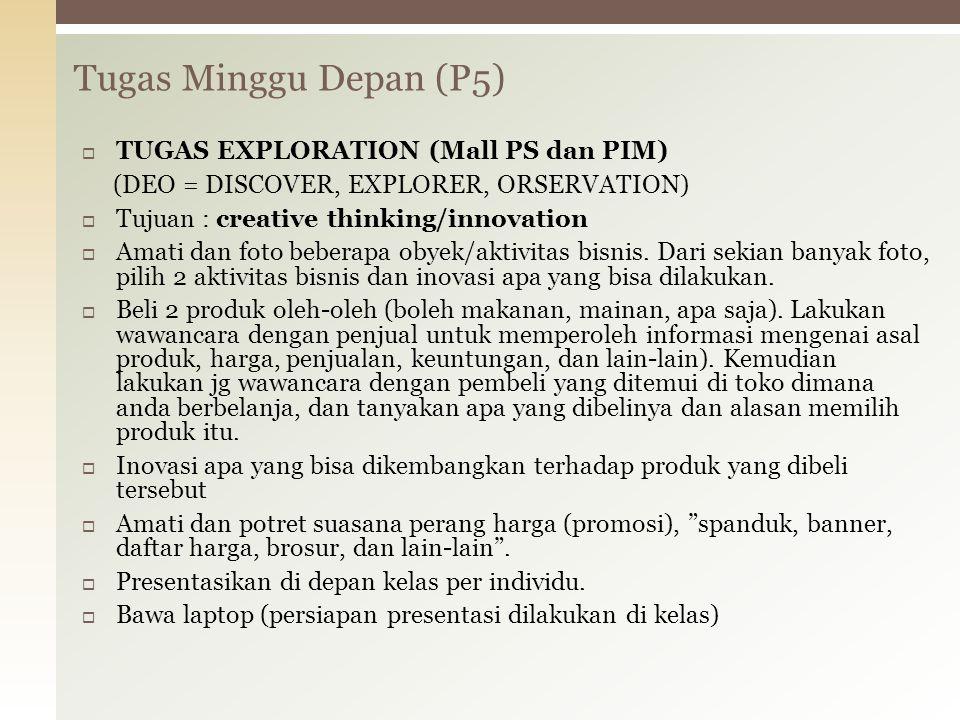 Tugas Minggu Depan (P5)  TUGAS EXPLORATION (Mall PS dan PIM) (DEO = DISCOVER, EXPLORER, ORSERVATION)  Tujuan : creative thinking/innovation  Amati