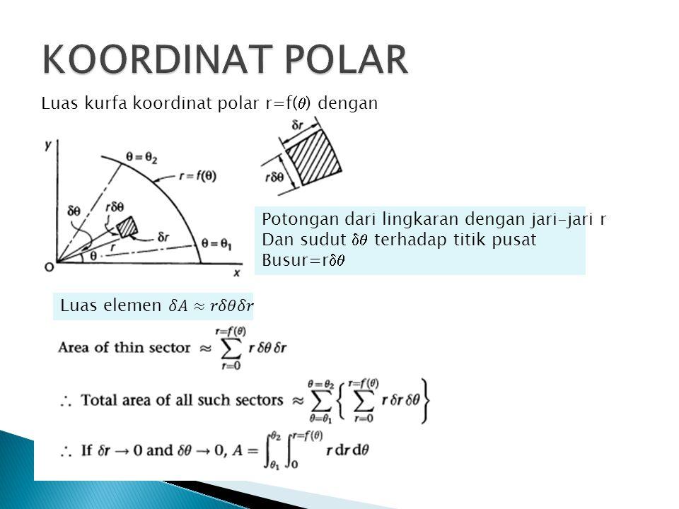 Luas kurfa koordinat polar r=f(  ) dengan Potongan dari lingkaran dengan jari-jari r Dan sudut  terhadap titik pusat Busur=r 
