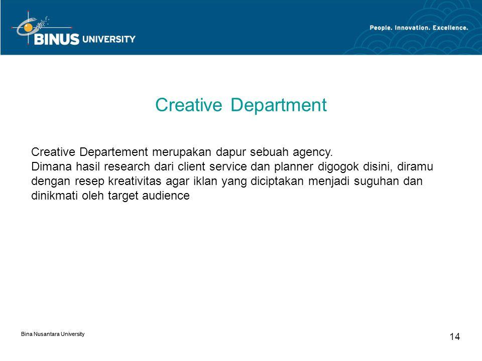 Bina Nusantara University Strategic Planning Department Pada dasarnya tugasnya adalah: Memahami marketing needs dari suatu Brand Mempelajari Marketing