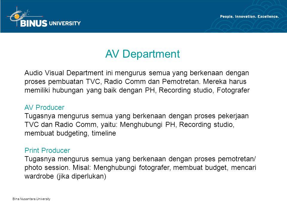 Bina Nusantara University 18 Production Production Manager Studio Manager F/A Artist Graphic Designer Paste up/ Mock up artist Studio Mengurusi semua yg berkenaan dengan materi produksi.