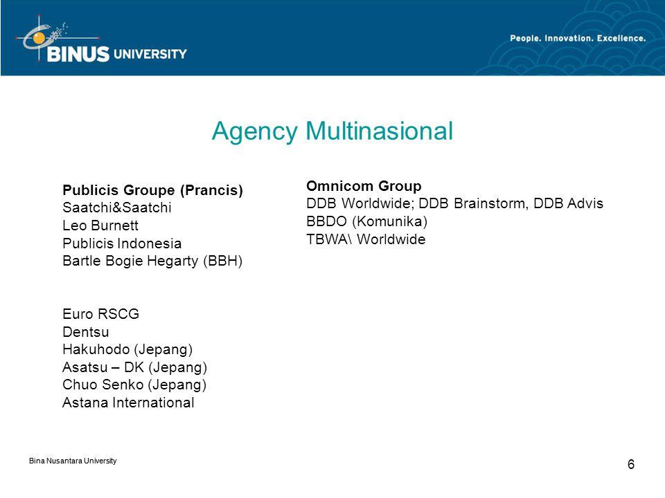 Bina Nusantara University 5 Agency Multinasional Inter Public Group (IPG) McCann Worldgroup; McCann Erickson, McCann Healthcare, Momentum, Weber Shand