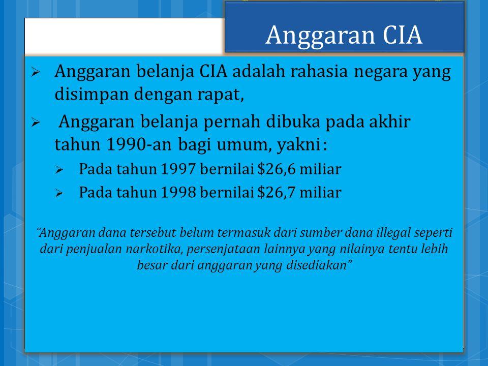 Anggaran CIA  Anggaran belanja CIA adalah rahasia negara yang disimpan dengan rapat,  Anggaran belanja pernah dibuka pada akhir tahun 1990-an bagi u