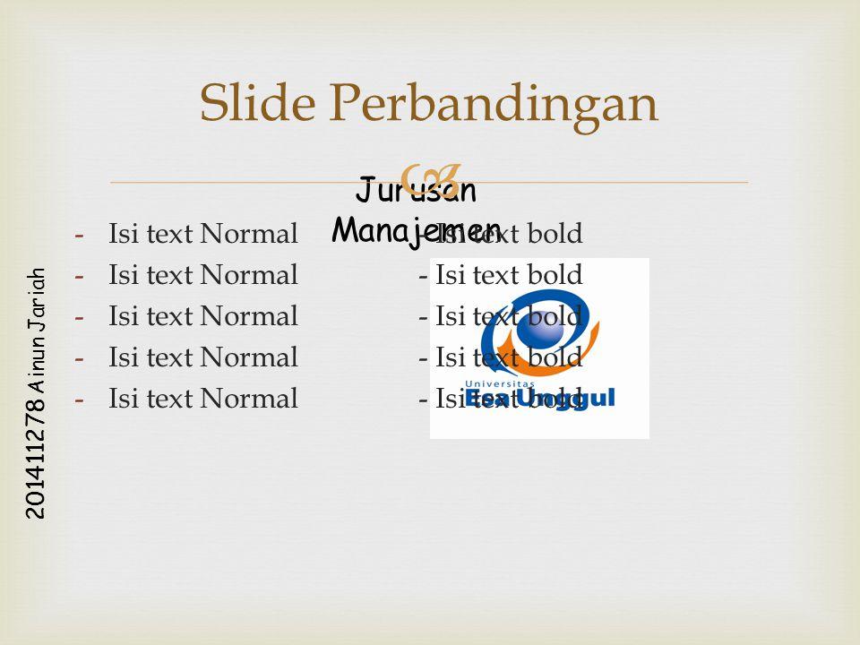 Jurusan Manajemen 2 0 1 4 1 1 2 7 8 A i n u n J a r i a h  -Isi text Normal- Isi text bold Slide Perbandingan