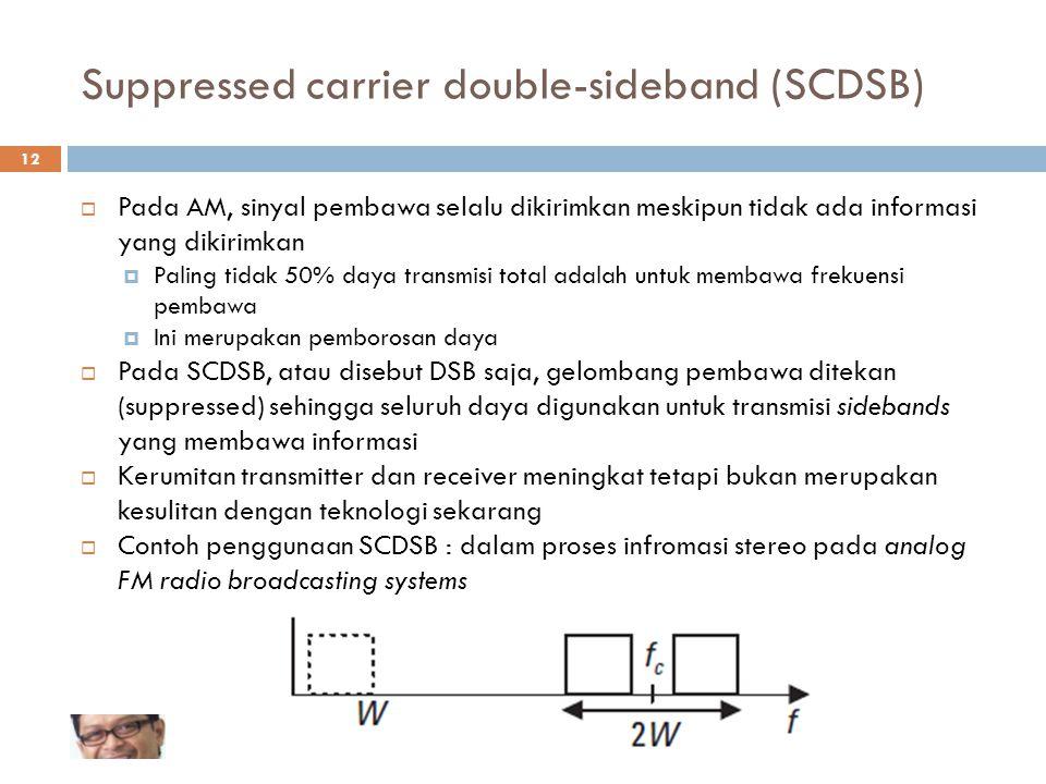Suppressed carrier double-sideband (SCDSB)  Pada AM, sinyal pembawa selalu dikirimkan meskipun tidak ada informasi yang dikirimkan  Paling tidak 50%