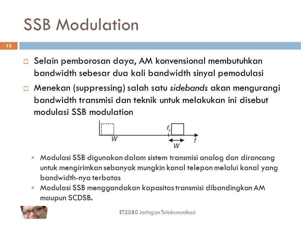 SSB Modulation  Selain pemborosan daya, AM konvensional membutuhkan bandwidth sebesar dua kali bandwidth sinyal pemodulasi  Menekan (suppressing) sa