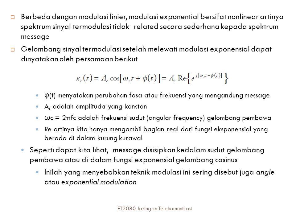  Berbeda dengan modulasi linier, modulasi exponential bersifat nonlinear artinya spektrum sinyal termodulasi tidak related secara sederhana kepada sp