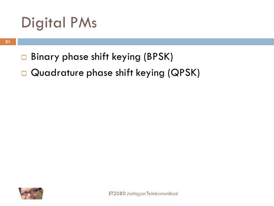 Digital PMs  Binary phase shift keying (BPSK)  Quadrature phase shift keying (QPSK) 21 ET2080 Jaringan Telekomunikasi