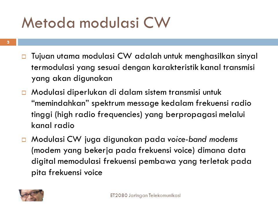 Metoda modulasi CW  Tujuan utama modulasi CW adalah untuk menghasilkan sinyal termodulasi yang sesuai dengan karakteristik kanal transmisi yang akan