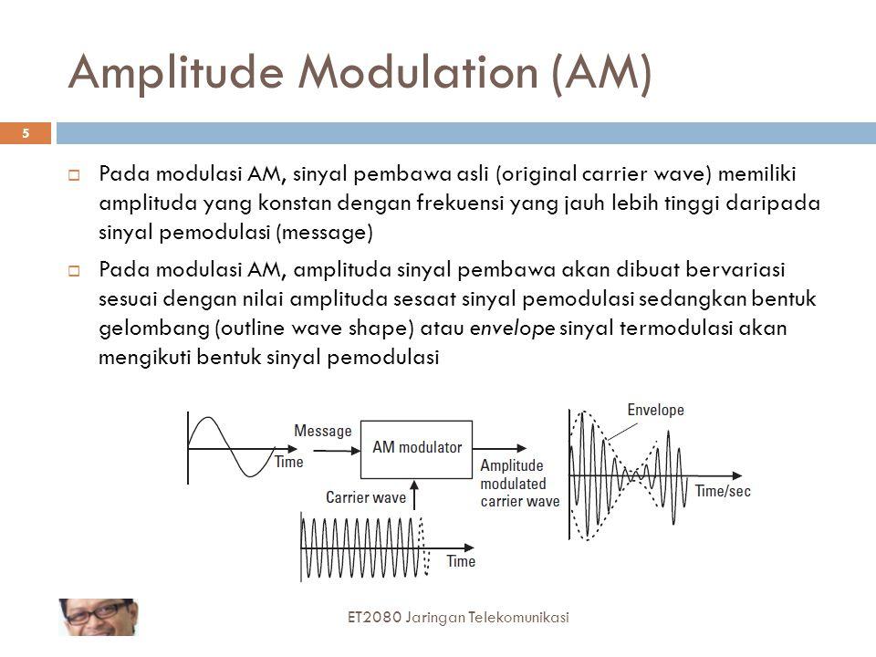 Amplitude Modulation (AM)  Pada modulasi AM, sinyal pembawa asli (original carrier wave) memiliki amplituda yang konstan dengan frekuensi yang jauh l