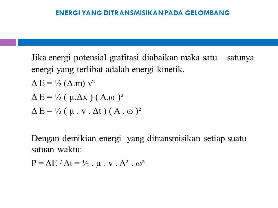 ENERGI YANG DITRANSMISIKAN PADA GELOMBANG Jika energi potensial grafitasi diabaikan maka satu – satunya energi yang terlibat adalah energi kinetik. Δ