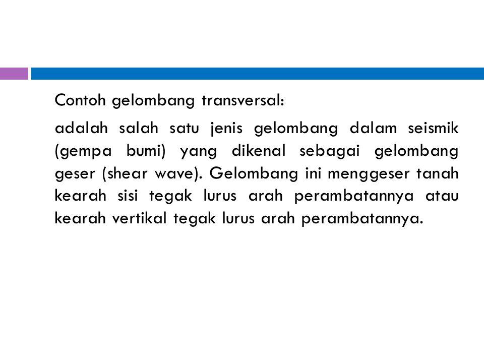Contoh gelombang transversal: adalah salah satu jenis gelombang dalam seismik (gempa bumi) yang dikenal sebagai gelombang geser (shear wave). Gelomban
