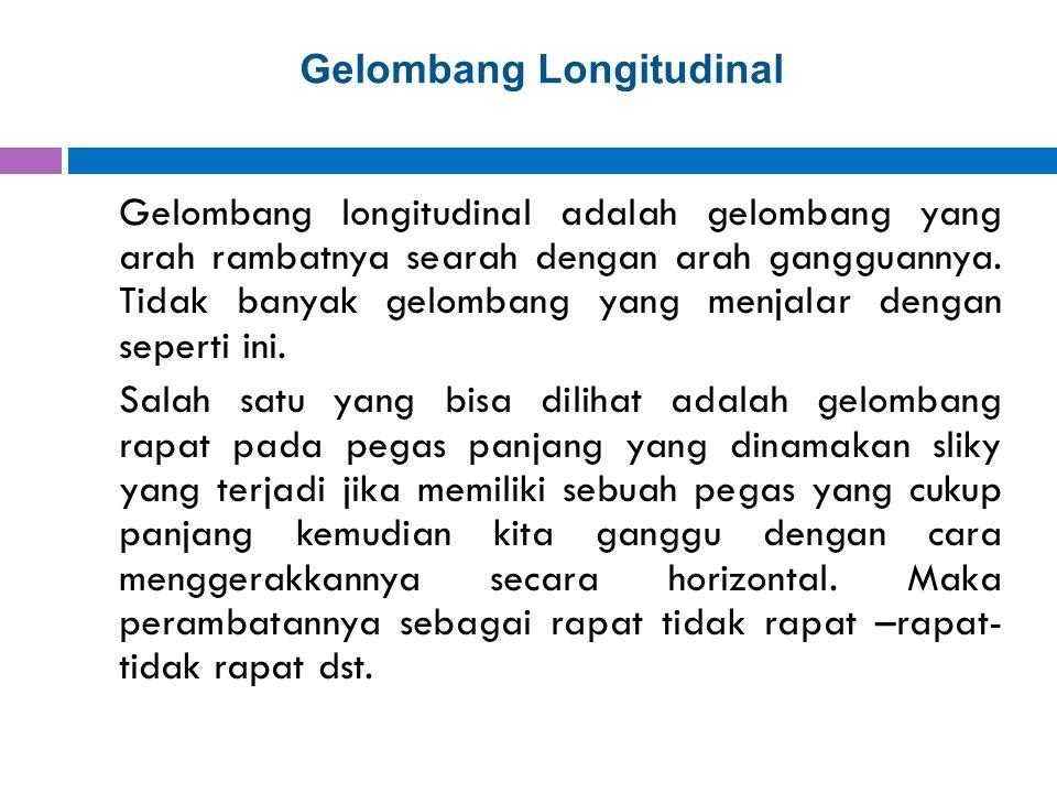 Gelombang Longitudinal Gelombang longitudinal adalah gelombang yang arah rambatnya searah dengan arah gangguannya. Tidak banyak gelombang yang menjala