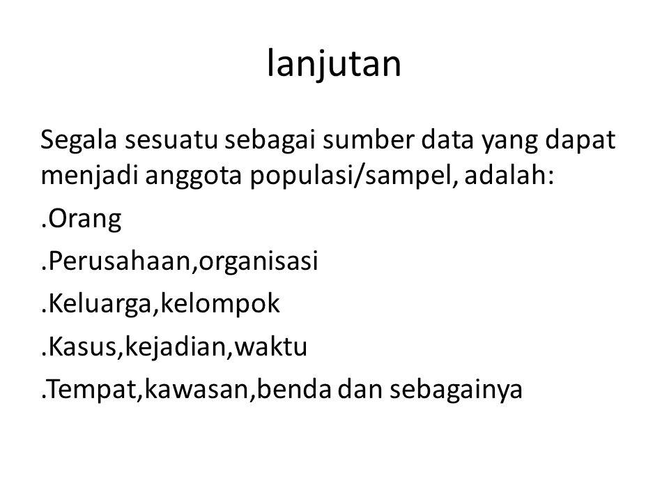 lanjutan Segala sesuatu sebagai sumber data yang dapat menjadi anggota populasi/sampel, adalah:.Orang.Perusahaan,organisasi.Keluarga,kelompok.Kasus,ke