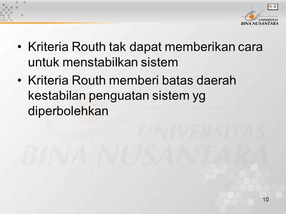 10 Kriteria Routh tak dapat memberikan cara untuk menstabilkan sistem Kriteria Routh memberi batas daerah kestabilan penguatan sistem yg diperbolehkan