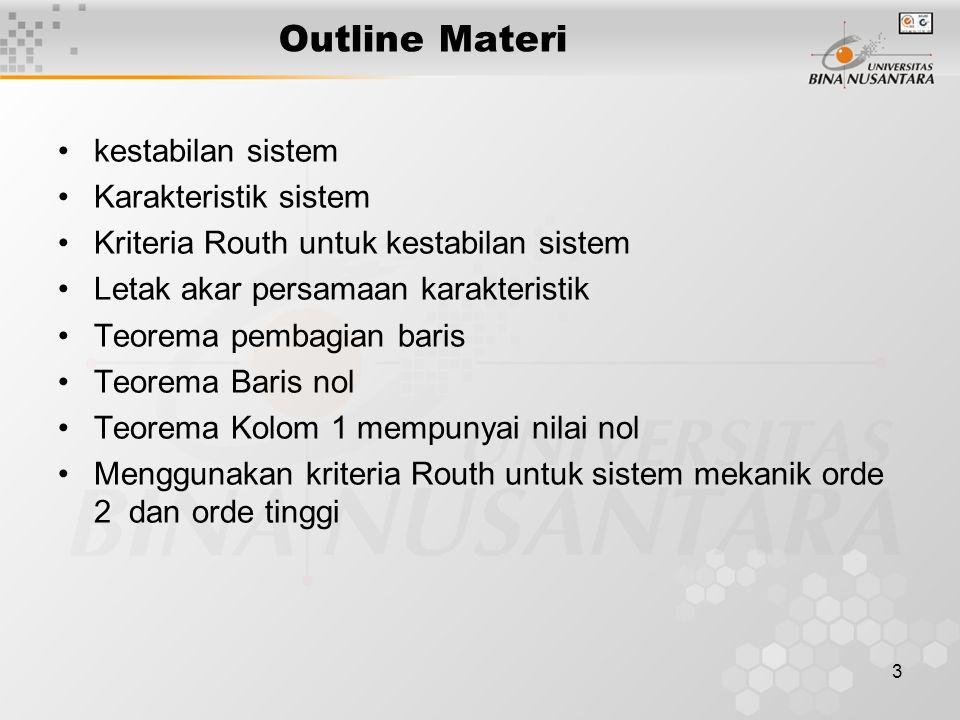 3 Outline Materi kestabilan sistem Karakteristik sistem Kriteria Routh untuk kestabilan sistem Letak akar persamaan karakteristik Teorema pembagian ba