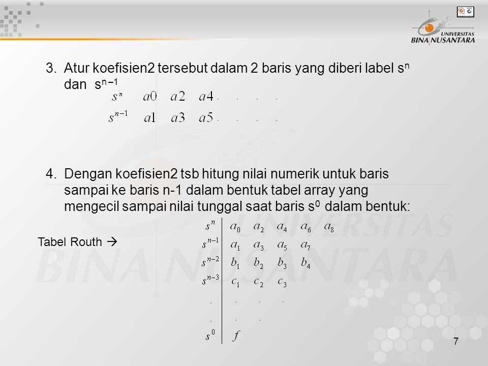 8 5.Masing2 nilai dihitung dengan menggunakan 4 nilai dari 2 baris langsung diatasnya yang diatur sebagai berikut: 6.Lakukan sampai ke baris s0, kemudian periksa pada kolom pertama tabel Routh apakah terdapat perubahan tanda.