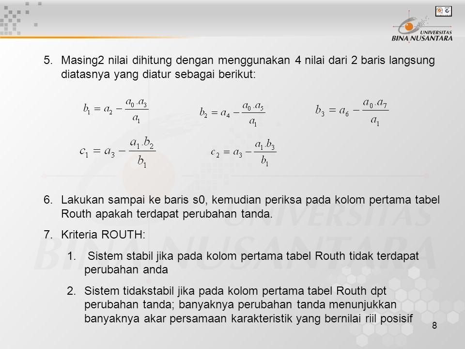 9 Tabel Routh: Pada kolom pertama tabel Routh diperoleh 2x perubahan tanda; disimpulkan bahwa sistem tidak stabil dan terdapat 2 akar bernilai riil posistif Sistem dengan persamaan karakteristik: Contoh: