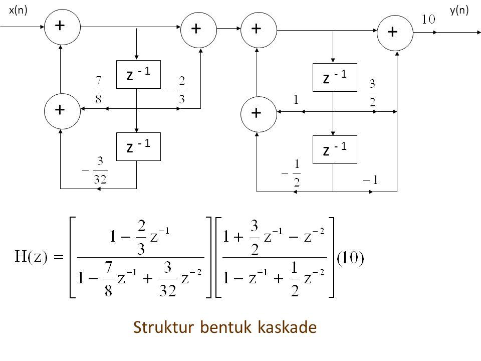 + z - 1 + + x(n)y(n) + z - 1 + + Struktur bentuk kaskade