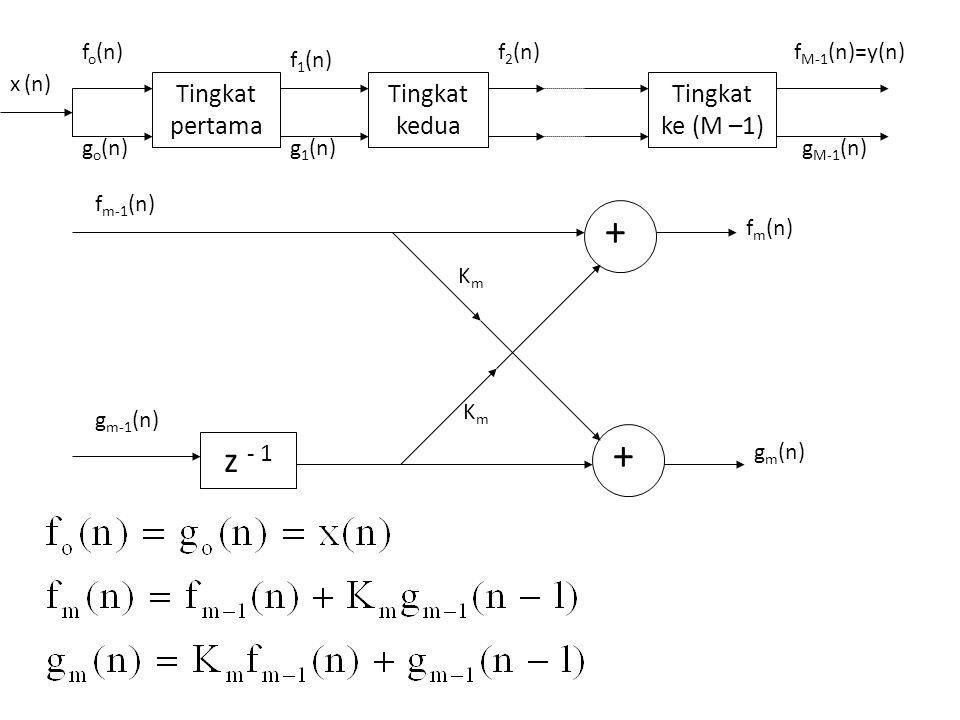 z - 1 + x(n) g N (n) K N f N (n) f N-1 (n) + -K N z - 1 + g 2 (n) K 2 f 2 (n) f 1 (n) + -K 2 g 1 (n)g o (n) z - 1 + K 1 f o (n)=y(n) + -K 1