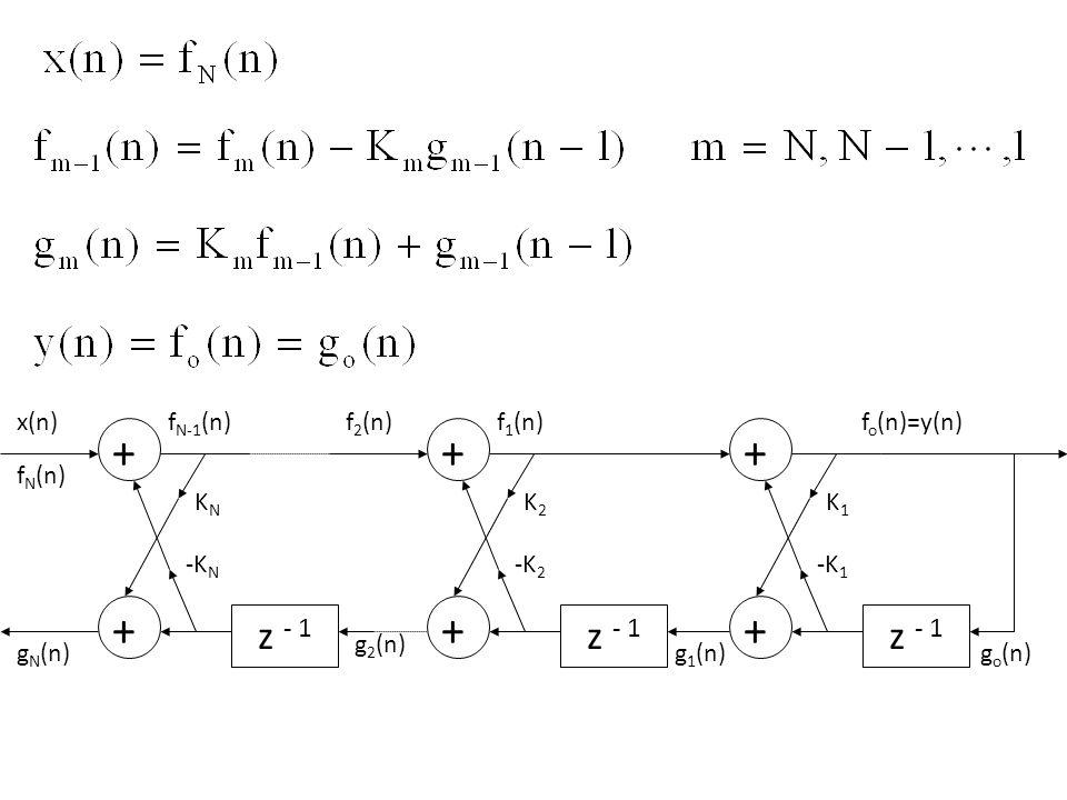 g o (n) z - 1 + K 1 f o (n) + -K 1 y(n) g 1 (n) x(n) f 1 (n) All-pole IIR system All-zero FIR system
