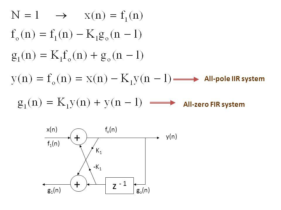 g o (n) z - 1 + K 1 f o (n) + -K 1 y(n) g 1 (n) f 1 (n) z - 1 + K 2 + -K 2 g 2 (n) x(n) f 2 (n)