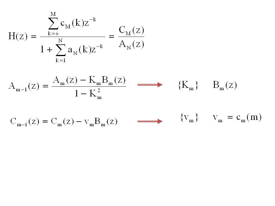 Contoh Soal 9.4 : Gambarkan struktur lattice-ladder dari sistem IIR yang mempunyai fungsi sistem : Jawab :