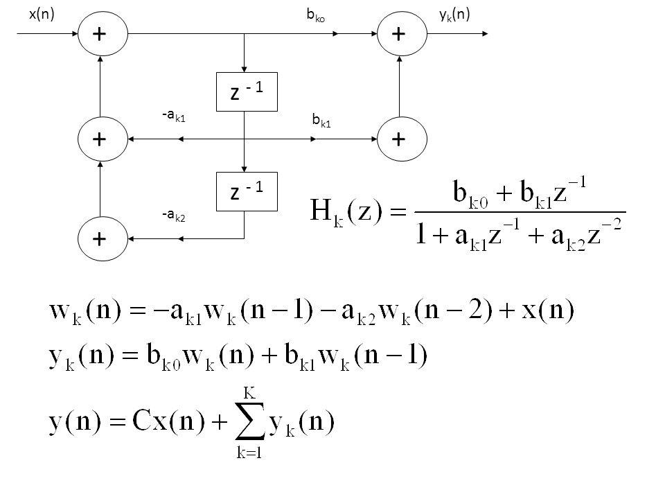 Contoh Soal 9.3 : Tentukan struktur bentuk kaskade dan struktur bentuk paralel dari sistem dengan fungsi sistem : Jawab : Struktur bentuk kaskade