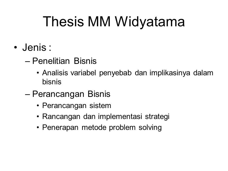 Thesis MM Widyatama Jenis : –Penelitian Bisnis Analisis variabel penyebab dan implikasinya dalam bisnis –Perancangan Bisnis Perancangan sistem Rancang