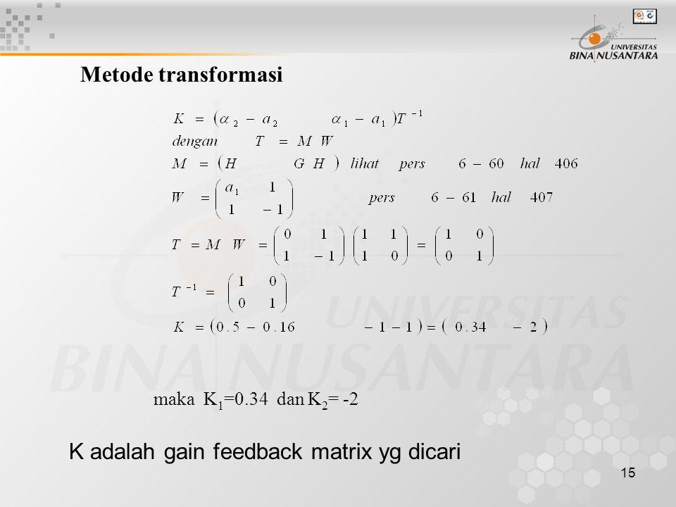 15 Metode transformasi maka K 1 =0.34 dan K 2 = -2 K adalah gain feedback matrix yg dicari