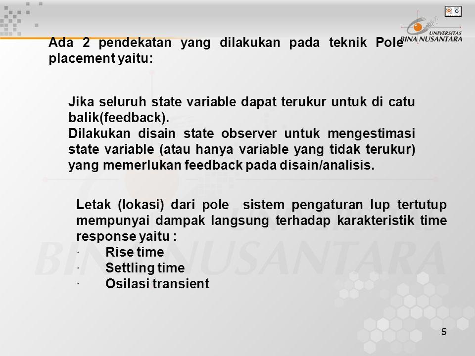 16 Metode Ackermann K adalah gain feedback matrix yg dicari
