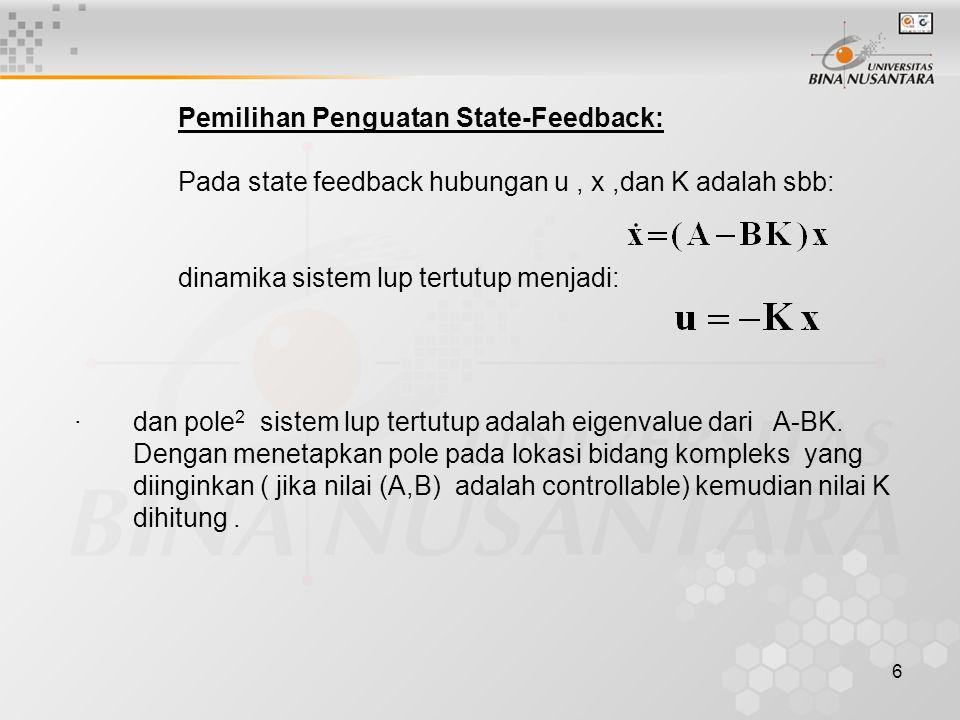 6 Pemilihan Penguatan State-Feedback: Pada state feedback hubungan u, x,dan K adalah sbb: dinamika sistem lup tertutup menjadi: · dan pole 2 sistem lu