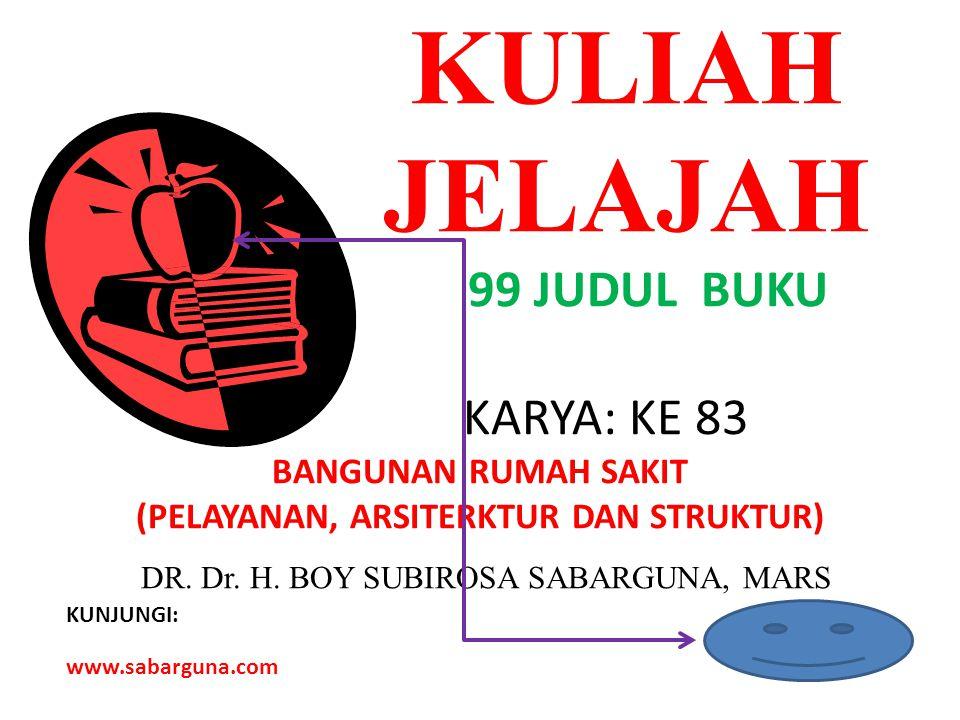 KULIAH JELAJAH 99 JUDUL BUKU KARYA: KE 83 BANGUNAN RUMAH SAKIT (PELAYANAN, ARSITERKTUR DAN STRUKTUR) DR.