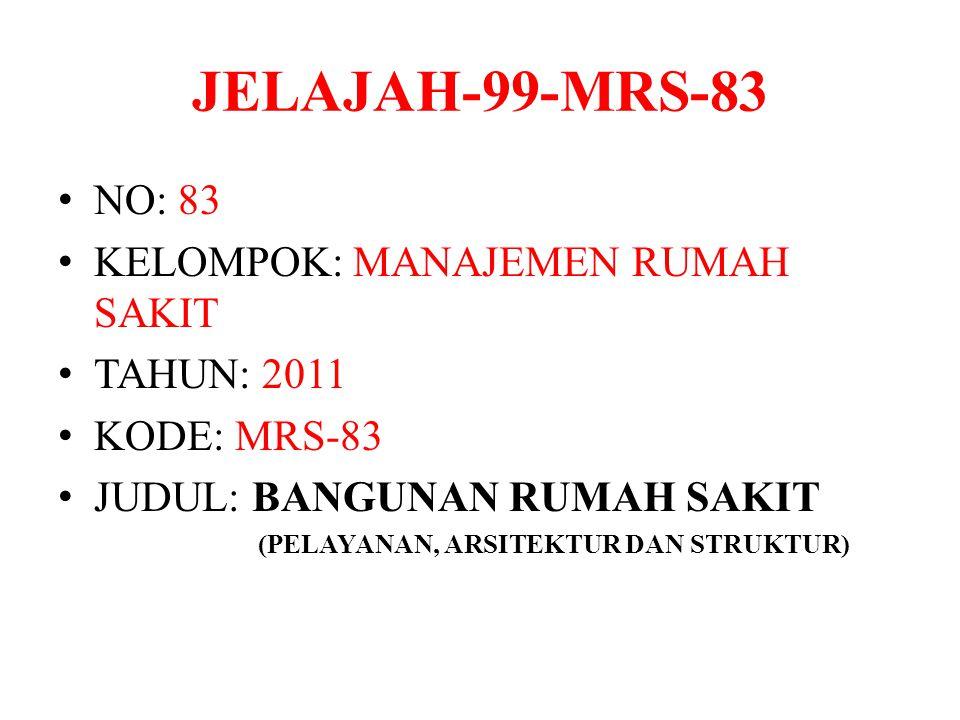 JELAJAH-99-MRS-83 NO: 83 KELOMPOK: MANAJEMEN RUMAH SAKIT TAHUN: 2011 KODE: MRS-83 JUDUL: BANGUNAN RUMAH SAKIT (PELAYANAN, ARSITEKTUR DAN STRUKTUR)