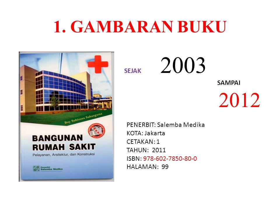 1. GAMBARAN BUKU SEJAK 2003 SAMPAI 2012 PENERBIT: Salemba Medika KOTA: Jakarta CETAKAN: 1 TAHUN: 2011 ISBN: 978-602-7850-80-0 HALAMAN: 99