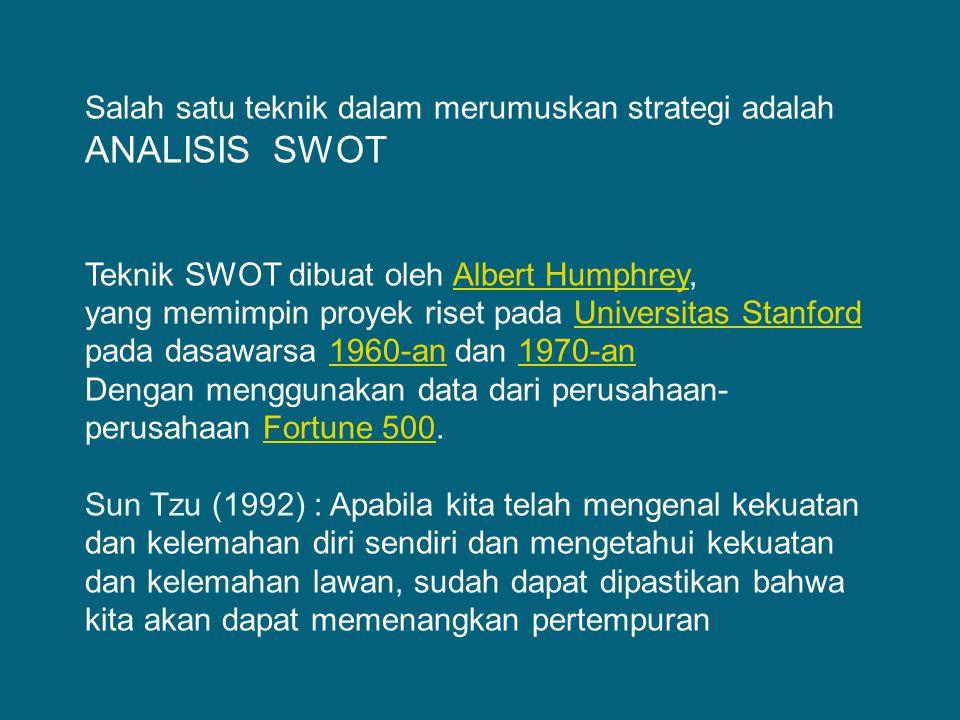 Salah satu teknik dalam merumuskan strategi adalah ANALISIS SWOT Teknik SWOT dibuat oleh Albert Humphrey,Albert Humphrey yang memimpin proyek riset pa