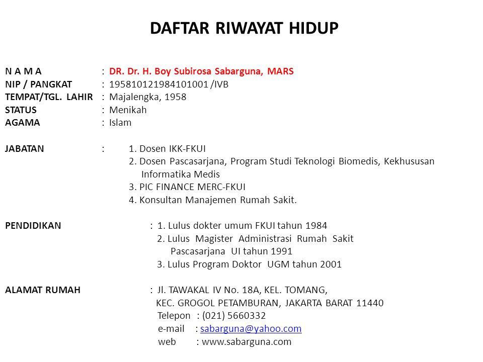 DAFTAR RIWAYAT HIDUP N A M A : DR.Dr. H.