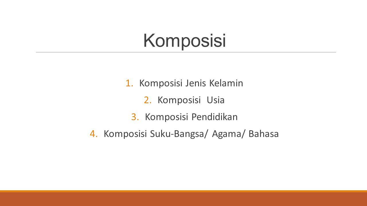 Komposisi 1.Komposisi Jenis Kelamin 2.Komposisi Usia 3.Komposisi Pendidikan 4.Komposisi Suku-Bangsa/ Agama/ Bahasa