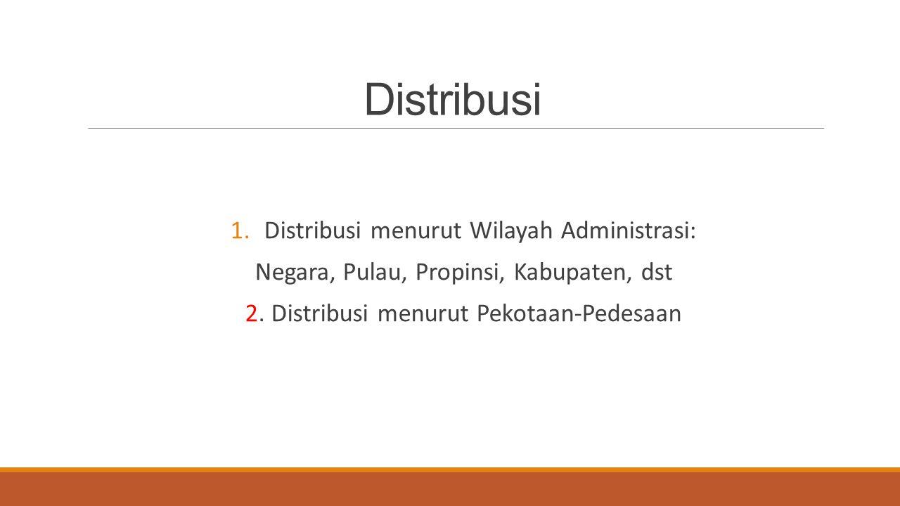 Distribusi 1.Distribusi menurut Wilayah Administrasi: Negara, Pulau, Propinsi, Kabupaten, dst 2. Distribusi menurut Pekotaan-Pedesaan