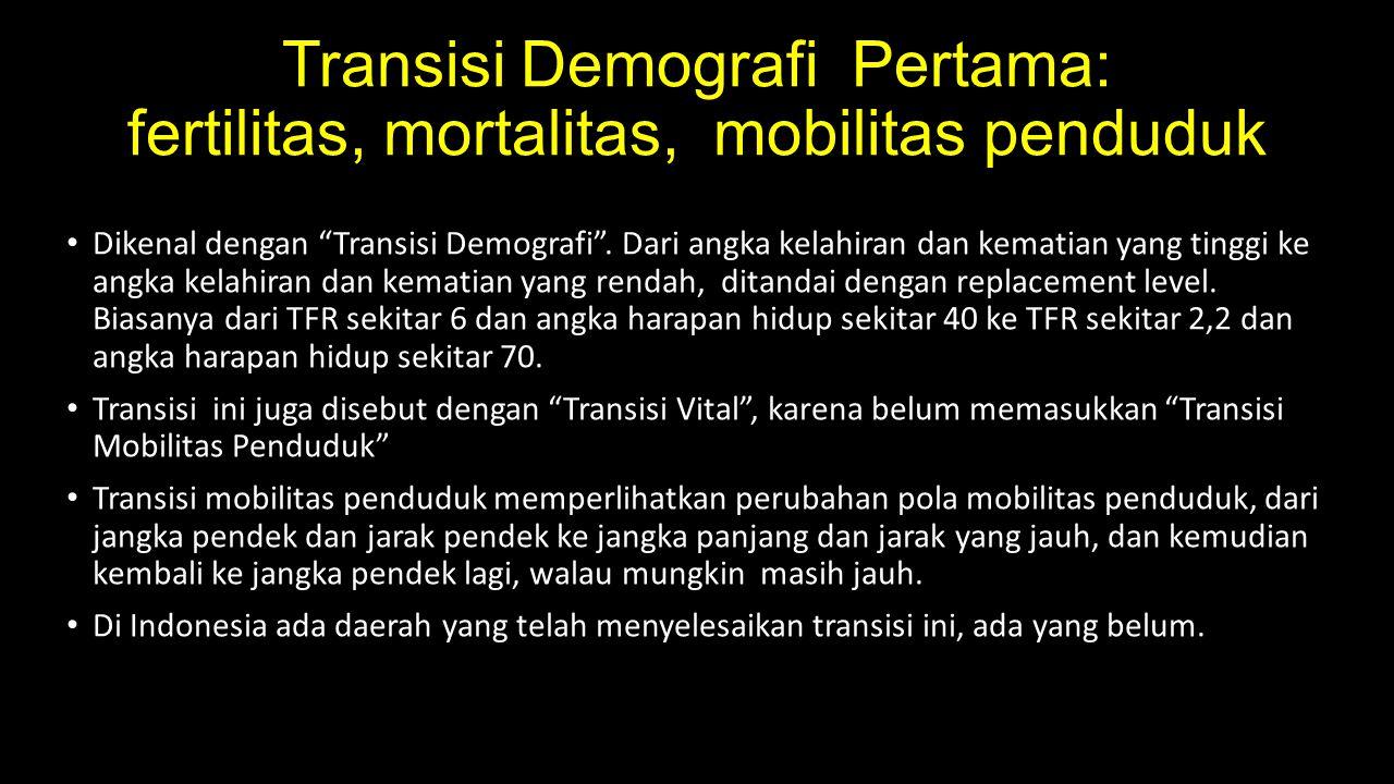 """Transisi Demografi Pertama: fertilitas, mortalitas, mobilitas penduduk Dikenal dengan """"Transisi Demografi"""". Dari angka kelahiran dan kematian yang tin"""