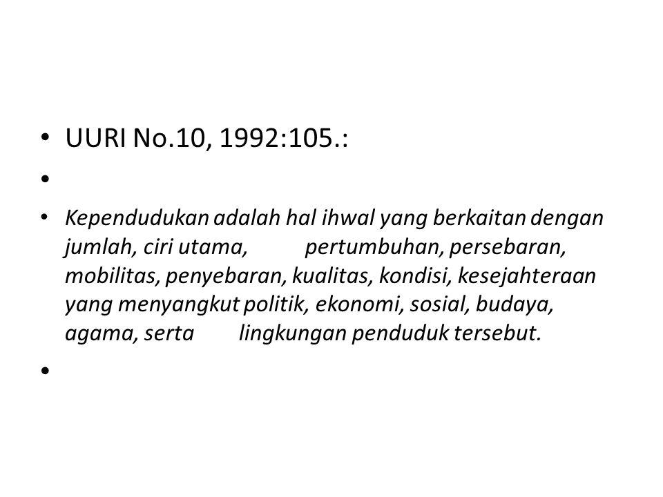 UURI No.10, 1992:105.: Kependudukan adalah hal ihwal yang berkaitan dengan jumlah, ciri utama, pertumbuhan, persebaran, mobilitas, penyebaran, kualita