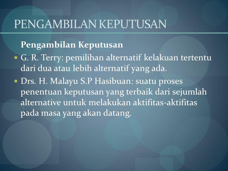 PENGAMBILAN KEPUTUSAN Pengambilan Keputusan G. R. Terry: pemilihan alternatif kelakuan tertentu dari dua atau lebih alternatif yang ada. Drs. H. Malay