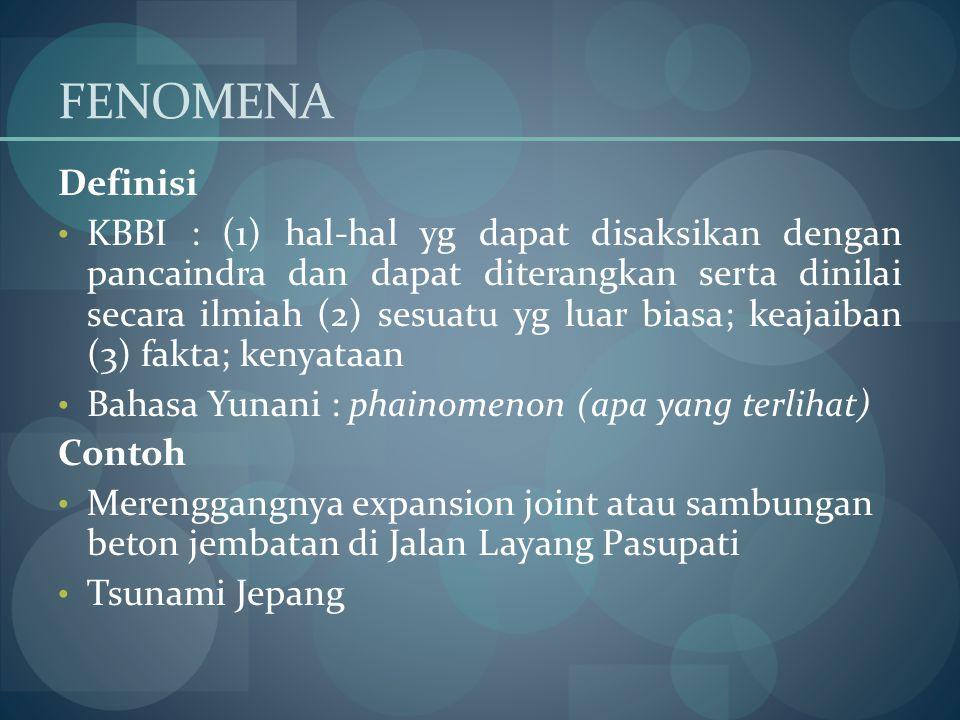 FENOMENA Definisi KBBI : (1) hal-hal yg dapat disaksikan dengan pancaindra dan dapat diterangkan serta dinilai secara ilmiah (2) sesuatu yg luar biasa