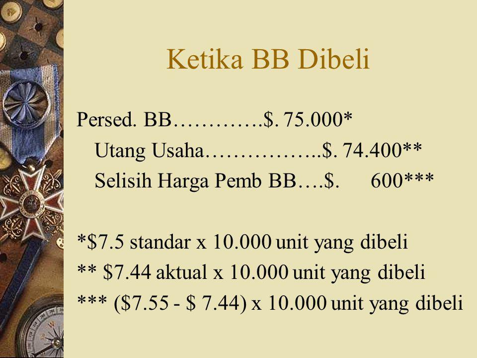 Ketika BB Dibeli Persed. BB………….$. 75.000* Utang Usaha……………..$. 74.400** Selisih Harga Pemb BB….$. 600*** *$7.5 standar x 10.000 unit yang dibeli ** $