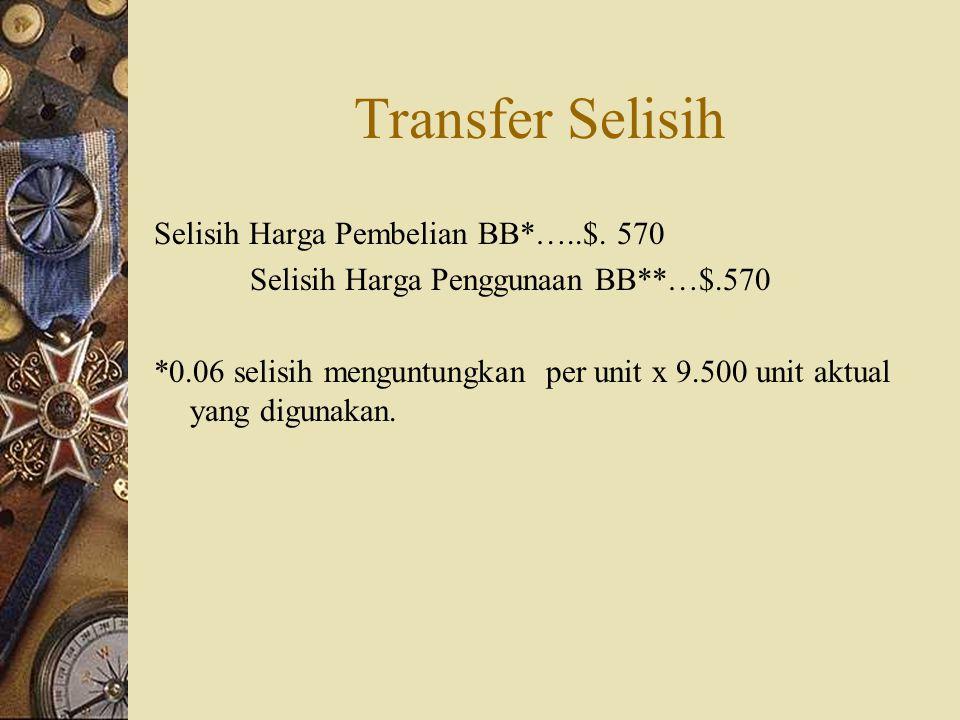 Transfer Selisih Selisih Harga Pembelian BB*…..$. 570 Selisih Harga Penggunaan BB**…$.570 *0.06 selisih menguntungkan per unit x 9.500 unit aktual yan