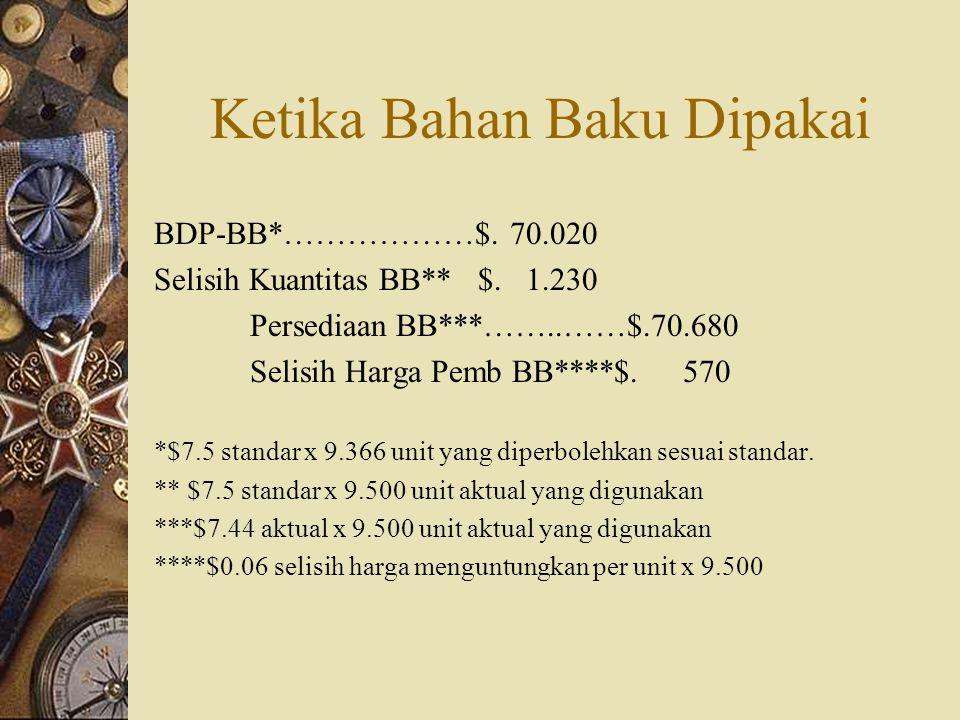 Ketika Bahan Baku Dipakai BDP-BB*………………$. 70.020 Selisih Kuantitas BB** $. 1.230 Persediaan BB***……..……$.70.680 Selisih Harga Pemb BB****$. 570 *$7.5