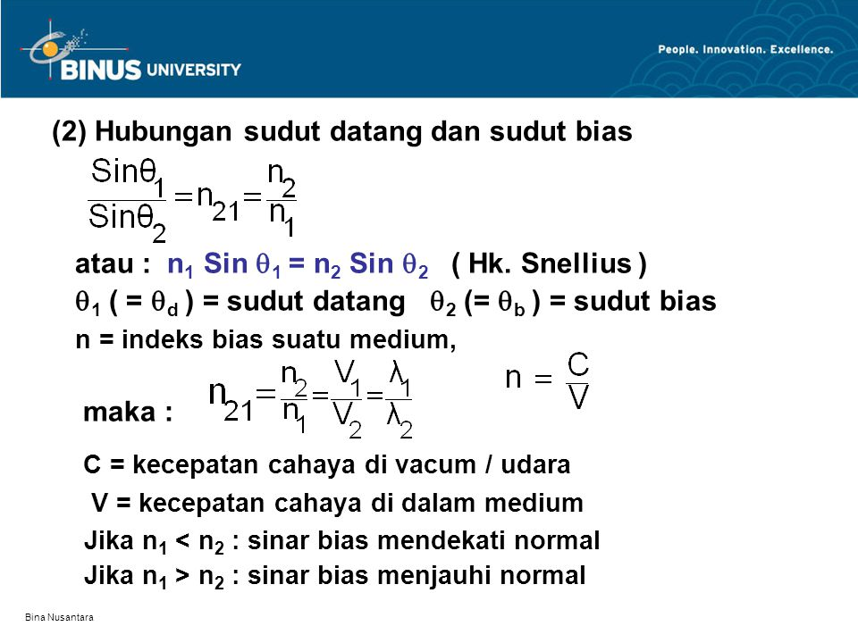 Bina Nusantara (2) Hubungan sudut datang dan sudut bias atau : n 1 Sin  1 = n 2 Sin  2 ( Hk. Snellius )  1 ( =  d ) = sudut datang  2 (=  b ) =